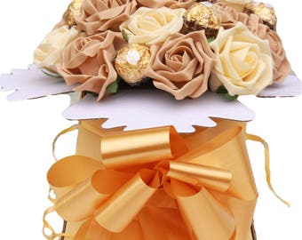 Flowers & Chocolate Bouquet - Ferrero Rocher, Sweet Hamper Gift, Birthday, Sorry, Thank You, Get Well, Thinking of You, Congratulations