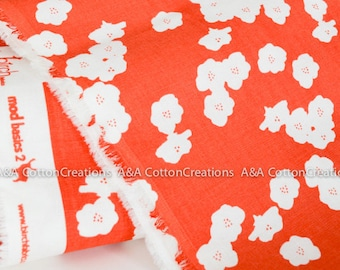 Last Piece-Double GAUZE ORGANIC Certified Cotton, Birch fabric, Coral Poppies print from Organic Double Gauze collection
