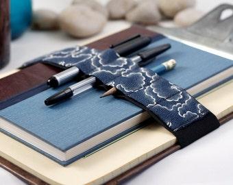 Large Journal Bandolier // blue tempest // (a better pencil case, journal pen holder, book strap, pen loop, pencil roll, pen bandolier)