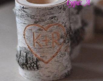 personalized birch candle holder  •  White Birch Candle Holder • Candle Holder
