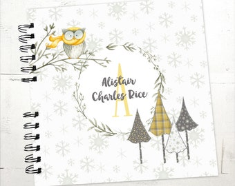 Baby Book |  Baby Memory Album | Owl Personalized Wire Bound Baby Memory Book Keepsake Album |  Winter Baby Book