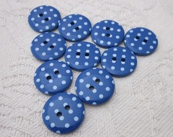 10 Small Dark Blue Polkadot Buttons