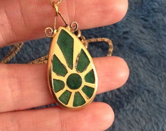 Pendant Necklace Freirich Green Enamel Statement Piece