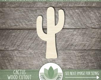 Wood Cactus Shape, Wooden Cactus Cutout, Blank Wood Shape, Unfinished Wood For DIY Projects, Many Sizes, Southwestern Wood Shapes, Cacti