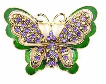 Vintage Purple Rhinestone Butterfly Brooch, Pin with Green Enamel