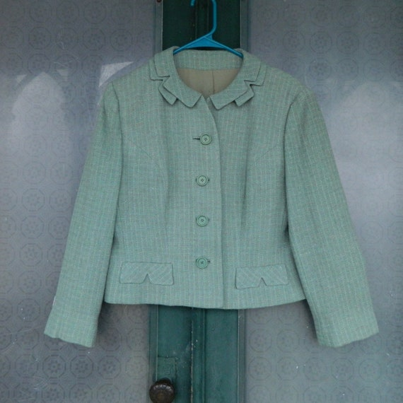 Vintage 1940s Cropped Suit Jacket S/M Seaglass Green Weave Wool