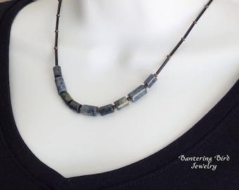 Dark Blue Beaded Necklace, Unusual Stone Dumortierite, Simple Layering Necklace, Adjustable