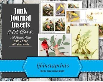 Bird Journal Cards, Junk Journal Ephemera, Bird Junk Journal Cards, Junk Journal Printable, Junk Journal Supply, Journal Flash Cards
