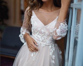 Floral wedding dress etsy bohemian wedding dress long sleeve tara open back wedding dress bell sleeves junglespirit Image collections
