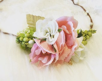 Newborn Flower Crown, baby flower crown, infant flower crown, blush pink, ivory and gold, flowergirl crown