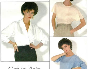Vogue 1128 Sewing Pattern Misses Loose Fitting Pullover Top or Wrap Blouse American Designer Calvin Klein Sz 14 Uncut