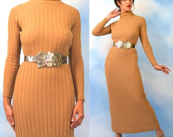 Vintage 70s Minimalist Buff Wool Blend Ribbed Knit Curve Grazing Long Sleeved Floor Length Turtleneck Sweater Dress (size medium, large)