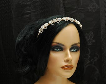 Rose Gold Bridal Headband, Wedding Headband, Gold Crystal Headpiece, Bridal Headband, Rose Gold Headband, Wedding Hair Accessories