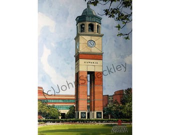 Western Kentucky University Bell Tower LIMITED EDITION Pen and Ink and Watercolor Art Print Illustration by John Stoeckley