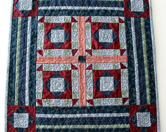 Quilted Country Table Topper, Patchwork Table Topper, Handmade, Country Decor