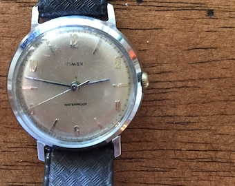 Timex vintage mens mechanical stainless steel case waterproof/dustproof shock resistant c1960s watch