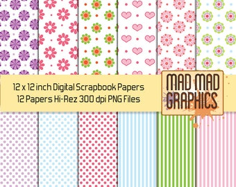 Sweet Flowers Dots and Stripes 2 x 12 Inch Scrapbooking Digital Papers or Clip Art