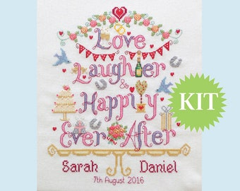 Love, Laughter & Happily Ever After Wedding Customisable Cross Stitch KIT