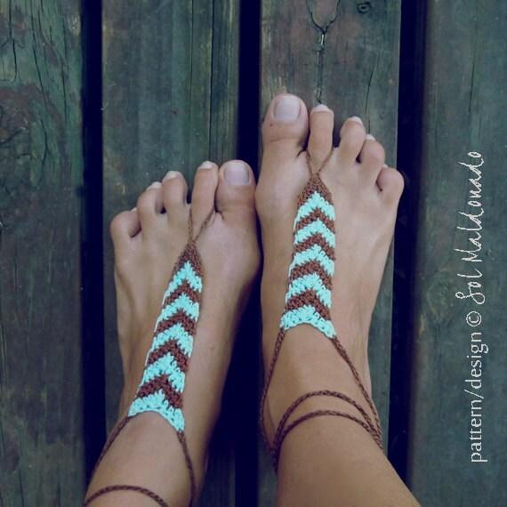 Barefoot Sandals Crochet Pattern Tribe Geometric Trend