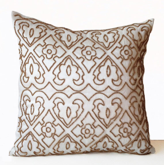 Gold Ivory Throw Pillow Case Gold Beads Designer Pillows Bed