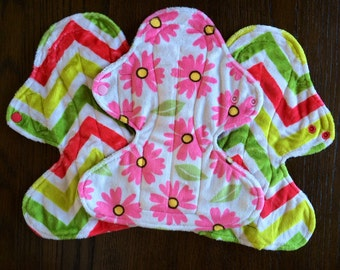 """Set of Three 11"""" Heavy Flow Postpartum Reusable Cloth Pad ~ Blossom and Citrus Wave Minky ~ by Talulah Bean"""