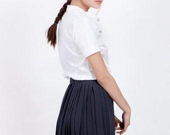Dark gray pleated skirt, chiffon skirt, knee length skirt, short skirt, high waisted pleated skirt, high waisted skirt