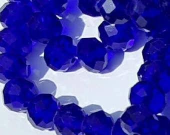 10mm Glass Beads - 30 pcs - 10mm Cobalt Blue Beads - Faceted Glass Beads - 10mm x 7mm - Rondelles - Cobalt Blue Beads