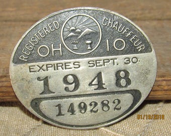 Vintage 1948 Registered Chauffeur Ohio Metal Badge Pin #149282 Metal Badge License
