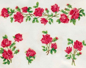 Perfect 10 Strips Of Roses Shabby Chic ORIGINAL VINTAGE DECALS Transfers Retro  Furniture Restoration Upcycling