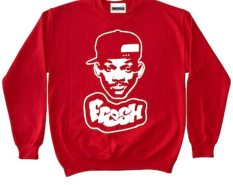 Fresh Prince - Red Crewneck To Match Retro Air Jordans 4 Toro Banned 1s Bred 11 low 5 Fire Red 3 white cement Suede History Of Flight 13