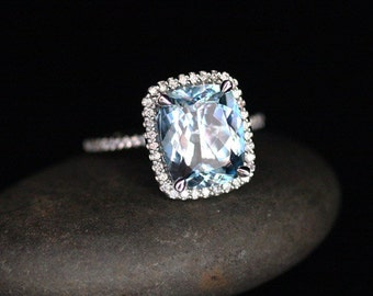 Flawless Aquamarine Engagement Ring Diamond Halo Ring in 14k White Gold Aquamarine Cushion 11x9mm and Diamonds
