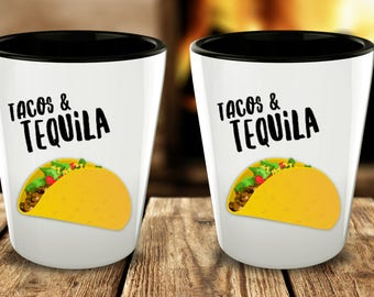 Tacos and Tequila Shot Glasses - Taco Shot Glass - I Love Tacos - Cinco de Mayo Cute Shot Glasses - Gifts for Taco Lovers - Taco Tuesday