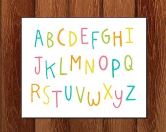 Colorful alphabet printable nursery art, Instant Download