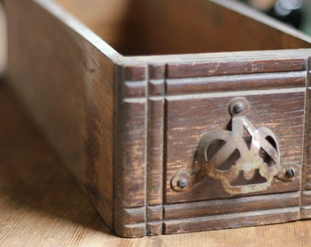 Antique Wooden Sewing Drawer with Metal Pull//Craft Storage