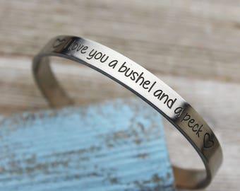 I love you a bushel & a peck Skinny Stacking Cuff Bracelet, Sterling Silver