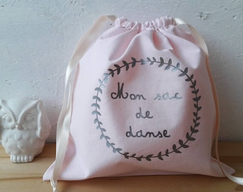 Dance bag 25 x 25 cm - pastel pink fabric and silver flocking - wool flower