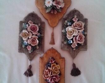 Heygill of Italy Porcelain Flowers on Velvet background wall hanging's