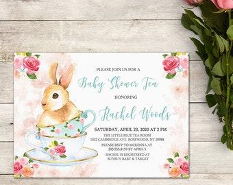 Baby Shower Tea Party Invitation, Bunny Tea Party Invitation, Baby Shower Girl, Easter Baby Shower, Shabby Chic Tea Party, Printable No. 502