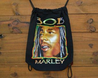 Vintage 1990's Bob Marley Double Sided String Back Pack Classic Back Pack Leather Sides