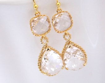 Gold Crystal Earrings, Clear Earrings, Glass, Bridesmaid Jewelry, Wedding Jewelry, Bridesmaid Earrings, Bridal Jewelry, Bride Earrings