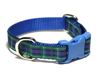 """Rose Tartan Dog Collar - 3/4"""" (19mm) Wide - Blue and Green Plaid - Scottish Tartan - Martingale or Side Release - Choice of style and size"""
