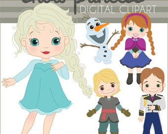 Imágenes Prediseñadas de la princesa de la nieve Set - arte Personal y limitada Commercial-Princess Clip de muñeco de nieve
