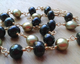 Green fresh water pearl gold filled necklace