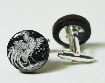 Rooster Cufflinks | mens accessories personalized gifts farm animal birds cock a doodle doo unisex funny nostalgic links etsy wedding