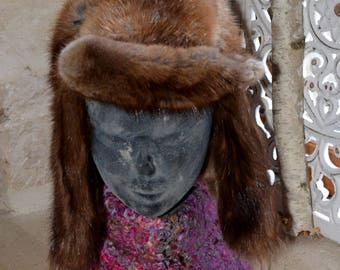 Chapka hat, fur, vintage, thrift store