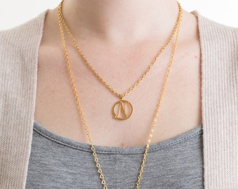 Small Gold Round Initial N Necklace, Personalized Necklace