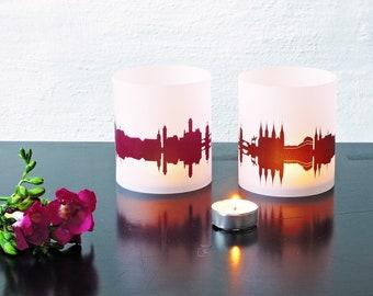 Lantern BAMBERG city light, 2 Tablelight in fume and plum, for Bamberg Lovers, Honeymoon in Bamberg, romantic candlelight, City Shade