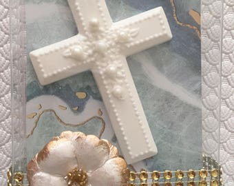 chocolate cross with pearls in box favor communion baptism confirmation