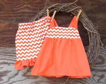 Girls Short Set, Girls Orange Chevron Shorts, Kids Ruffle Short, Girls Summer Short Set