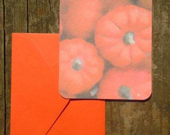 Set of 8 Flat pumpkin notecards for Autumn